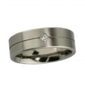 Titanium Ring -  Diamond Titanium Ring