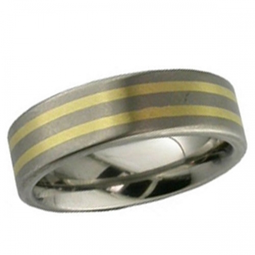 Titanium Wedding Ring - Inlaid Titanium Ring 7mm wide