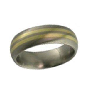 Titanium Wedding Ring (2219) Gold Inlaid