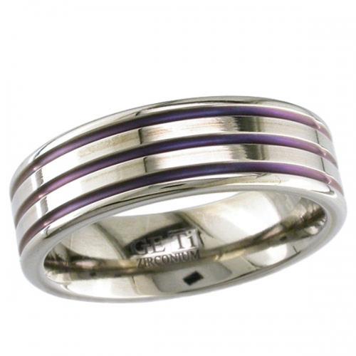 Zirconium Wedding Ring - Patterned Zirconium Ring