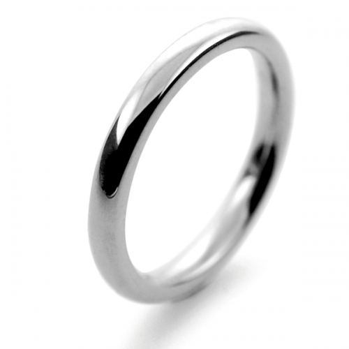 Slight or Soft Court Very Heavy -  2.0mm (SCH2.0P) Platinum Wedding Ring