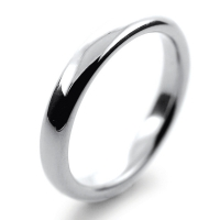 Slight or Soft Court Very Heavy -  3mm Platinum Wedding Ring (Plat or Pall)