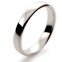 Soft Court Light - 3mm (SCSL3 W) White Gold Wedding Ring