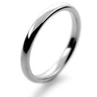 Slight or Soft Court Medium -   2mm (SCSM2P) Platinum Wedding Ring