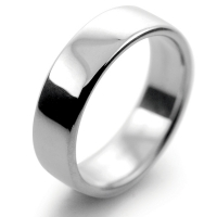 Slight or Soft Court Medium -  6mm Platinum Wedding Ring (Plat or Pall)
