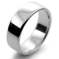 Slight or Soft Court Medium -  7mm Platinum Wedding Ring (Plat or Pall)