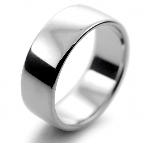 Slight or Soft Court Medium -  8mm (SCSM8P) Platinum Wedding Ring