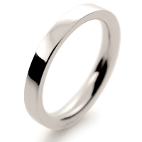 Flat Court Very Heavy -  2.5mm (FCH2.5 W) White Gold Wedding Ring
