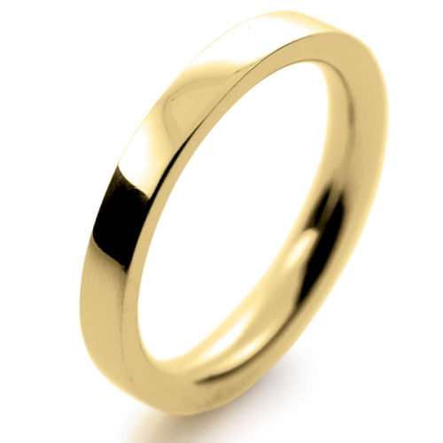 Flat Court Very Heavy -  2.5mm (FCH2.5-Y) Yellow Gold Wedding Ring