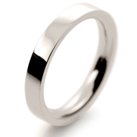 Flat Court Very Heavy -  3mm (FCH3 9W) 9ct White Gold Wedding Ring