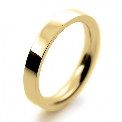 Flat Court Very Heavy -  3mm (FCH3-Y) Yellow Gold Wedding Ring