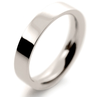 Flat Court Very Heavy -  4mm (FCH4 W) White Gold Wedding Ring