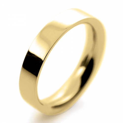 Flat Court Very Heavy -  4mm (FCH4-Y) Yellow Gold Wedding Ring