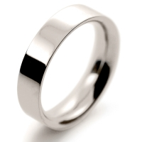 Flat Court Very Heavy -  5mm (FCH5 W) White Gold Wedding Ring