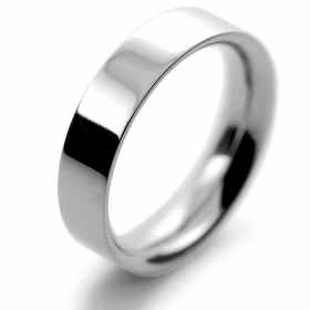 Flat Court Very Heavy -  5mm (FCH5P) Platinum Wedding Ring