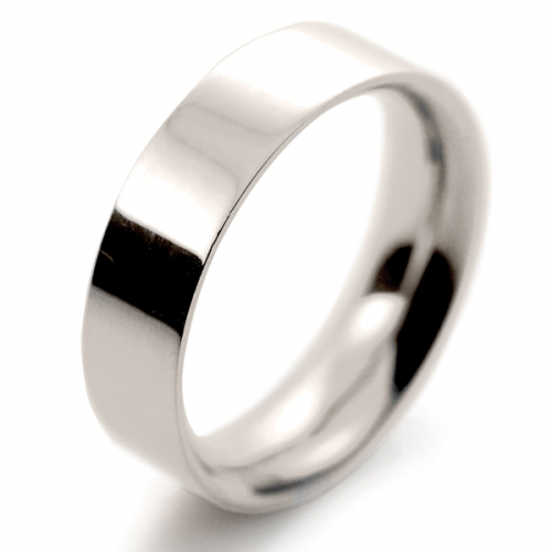 Flat Court Very Heavy -  6mm (FCH6 W) White Gold Wedding Ring