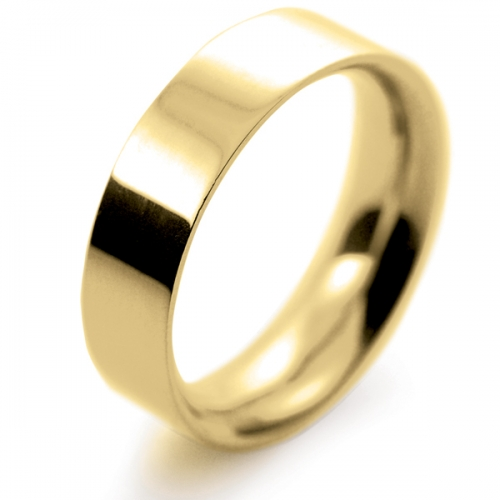 Flat Court Very Heavy -  6mm (FCH6Y) 18ct Yellow Gold Wedding Ring