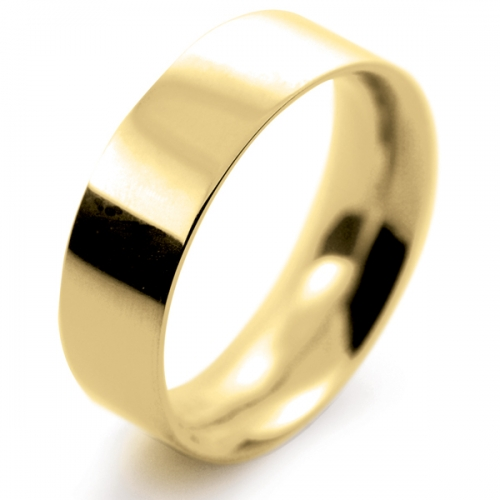 Flat Court Very Heavy -  7mm (FCH7-Y) Yellow Gold Wedding Ring