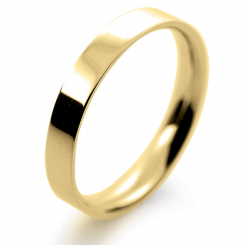 Flat Court Light - 3mm (FCSL3Y-Y) Yellow Gold Wedding Ring