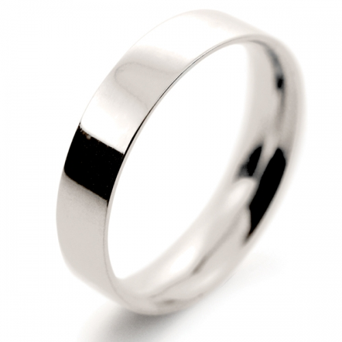 Flat Court Light -  4mm (FCSL4 W) White Gold Wedding Ring