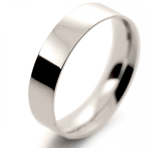 Flat Court Light -  5mm (FCSL5 W) White Gold Wedding Ring