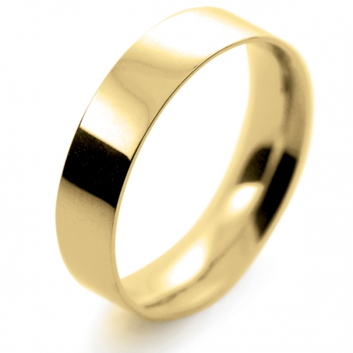 Flat Court Light -  5mm (FCSL5Y-Y) Yellow Gold Wedding Ring