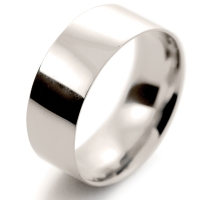 Flat Court Light -  8mm (FCSL8 W) White Gold Wedding Ring