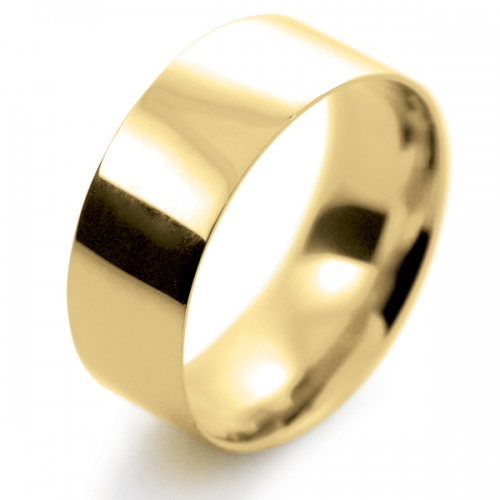 Flat Court Light - 8mm (FCSL8Y-Y) Yellow Gold Wedding Ring