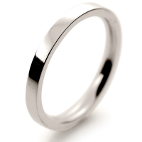 Flat Court Medium -  2 mm (FCSM2 W) White Gold Wedding Ring