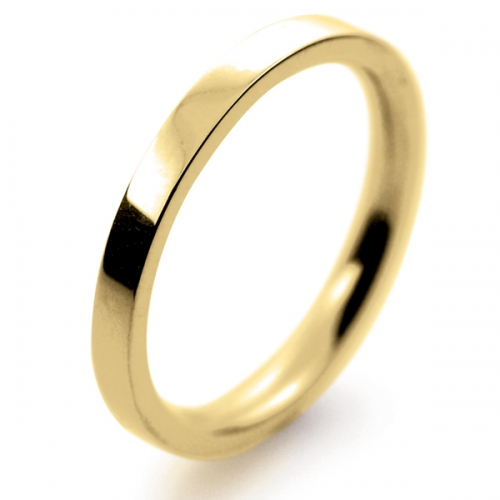 Flat Court Medium -  2 mm (FCSM2Y-Y) Yellow Gold Wedding Ring