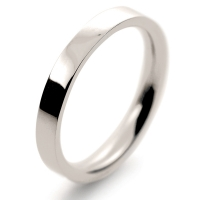 Flat Court Medium -  2.5mm (FCSM2.5 W) White Gold Wedding Ring