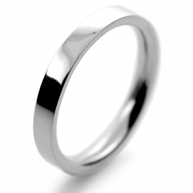 Flat Court Medium -  2.5mm Platinum Wedding Ring (Plat or Pall)