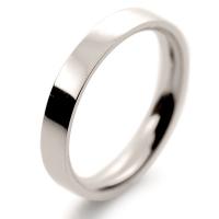 Flat Court Medium -  3mm (FCSM3 W) White Gold Wedding Ring