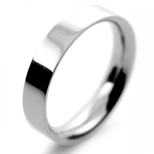 Flat Court Medium -  4mm Platinum Wedding Ring (Plat or Pall)