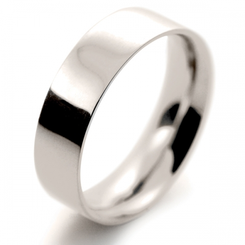 Flat Court Medium -  6mm (FCSM6 9W) 9ct White Gold Wedding Ring