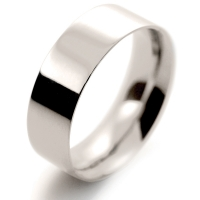 Flat Court Medium -  7mm (FCSM7 9W) 9ct White Gold Wedding Ring