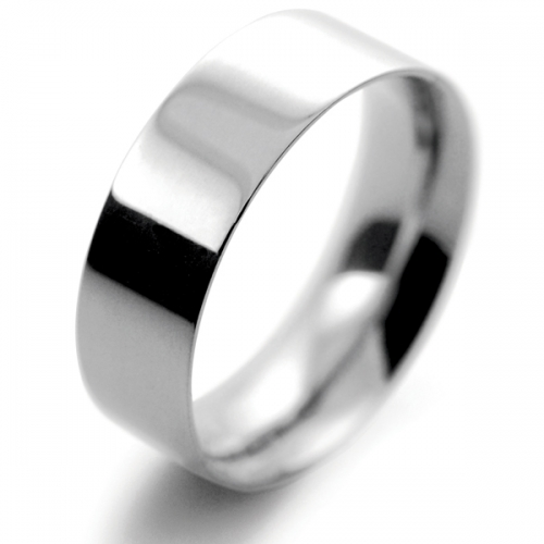Flat Court Medium -  7mm Platinum Wedding Ring (Plat or Pall)