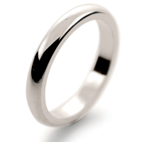 D Shaped Heavy -  3mm (DSH3-W) White Gold Wedding Ring