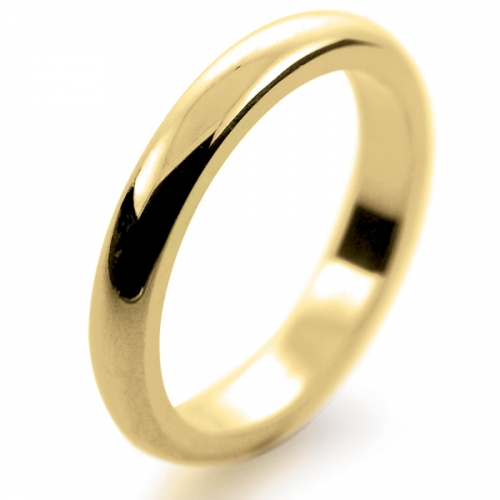 D Shaped Heavy - 3mm (DSH3-Y) Yellow Gold Wedding Ring