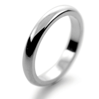 D Shaped Heavy Weight -  3mm (WBDS3HPAL) Palladium Wedding Ring