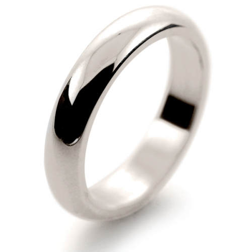 D Shaped Heavy - 4mm (DSH4-W) White Gold Wedding Ring