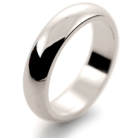D Shaped Heavy - 5mm (DSH5-W) White Gold Wedding Ring
