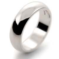 D Shaped Heavy - 6mm (DSH6) 18ct White Gold Wedding Ring