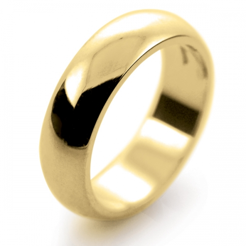 D Shaped Heavy - 6mm (DSH6-18Y) 18ct Yellow Gold Wedding Ring