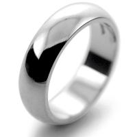 D Shaped Very Heavy - 6mm (DSM6) Platinum Wedding Ring