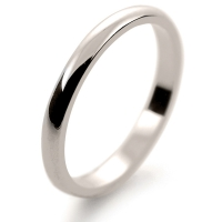 D Shape Light  - 2mm (DSSL W) White Gold Wedding Ring