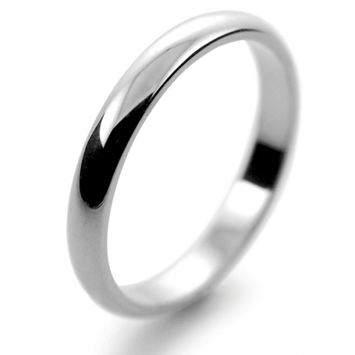 D Shape  Medium Weight -  2.5mm (DSSL2.5PAL) Palladium Wedding Ring