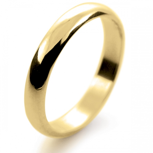 D Shape Light - 3mm (LD3-9Y) 9ct Yellow Gold Wedding Ring