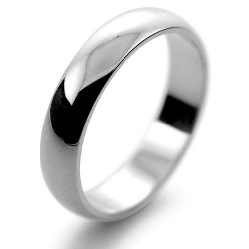 D Shaped Heavy  Weight - 4mm Platinum Wedding Ring (Plat or Pall)