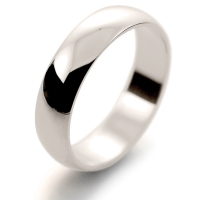 D Shape Light - 5mm (LD5 W) White Gold Wedding Ring
